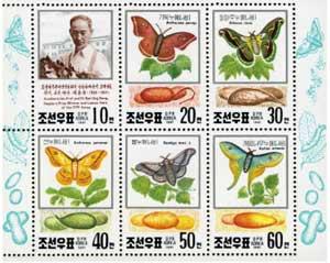 北韓發行的蠶學研究學者桂應祥小全張