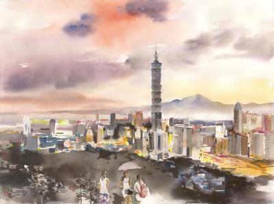 〈彩霞台北101〉,2014