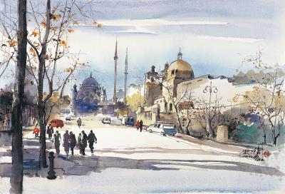 陳陽春在各國展覽,畫下所到之處的美麗風景。<伊斯坦堡之秋>,2005。