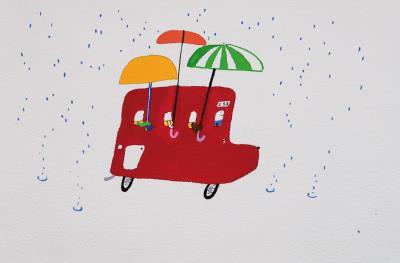 《誰的家到了?》是劉旭恭入圍 2015年波隆那插畫展的作品。 (劉旭恭提供)