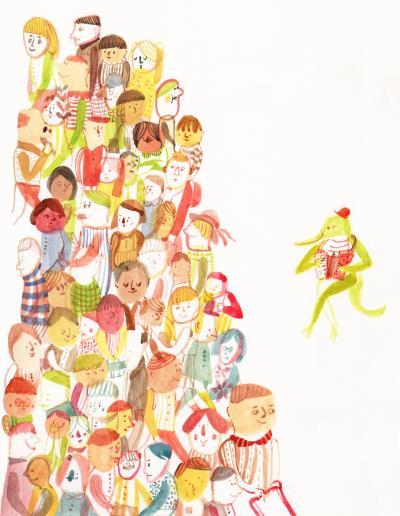 吳欣芷的畫筆觸樸拙,色彩簡單, 卻飽含情感,充滿童趣。 (吳欣芷提供)