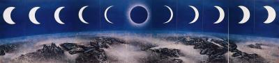 劉國松1971年作品《月蝕》,是受到阿波羅13號月球探險啟發的「太空畫」系列作品。