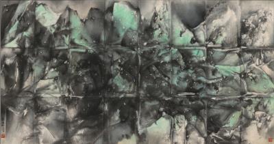 欣賞劉國松作品《窗外春山窗上雨》,感受水墨技法新視野。