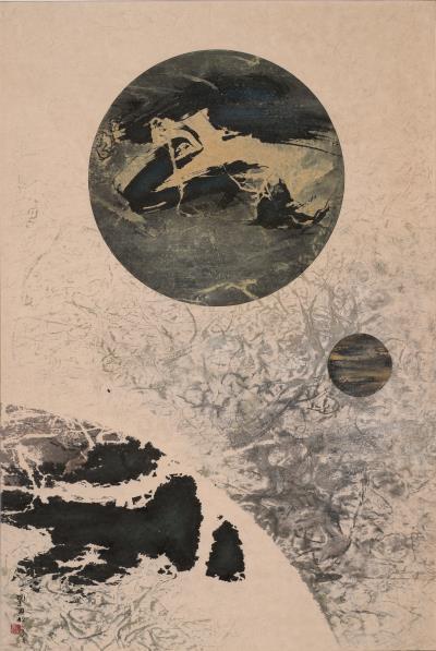 劉國松從月球照片得到靈感,完成作品《地球何許C》。