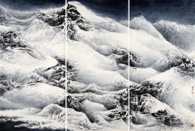 劉國松2016年作品 《永不融化的屹立》。