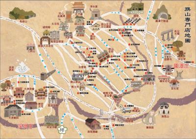 小鎮的地圖記錄旗山的文史地景、產業老店,台青蕉常舉辦社區小旅行,帶領大家認識不一樣的旗山小鎮。(台青蕉樂團提供,蔡政諭繪)