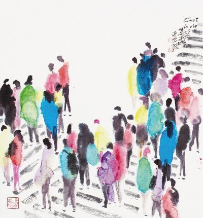 朱振南的抽象水墨畫的風格,用色繽紛,有著書法的筆韻與西方的賦彩。