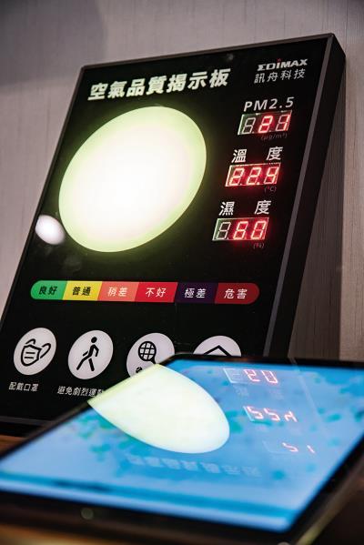 訊舟科技的空氣品質揭示板,提醒民眾依空氣狀況調整活動。